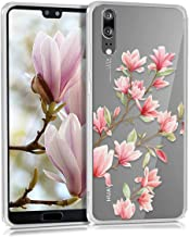 kwmobile Case Compatible with Huawei P20 - Clear Case Soft TPU Phone Cover - Magnolias Pink/White/Transparent