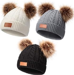 Kids Winter Pompom Hat Knitted Ski Beanie Hat Double Pom...