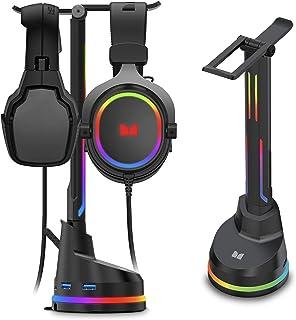 Monster Soporte para auriculares con 4 puertos USB 3.0 y efectos LED cambiantes RGB para auriculares inalámbricos o con cable