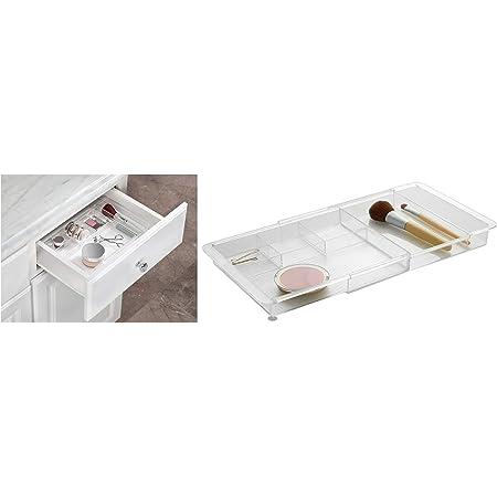iDesign rangement maquillage, organisateur tiroir extensible en plastique, boîte de rangement pour maquillage ou les accessoires salle de bain, transparent