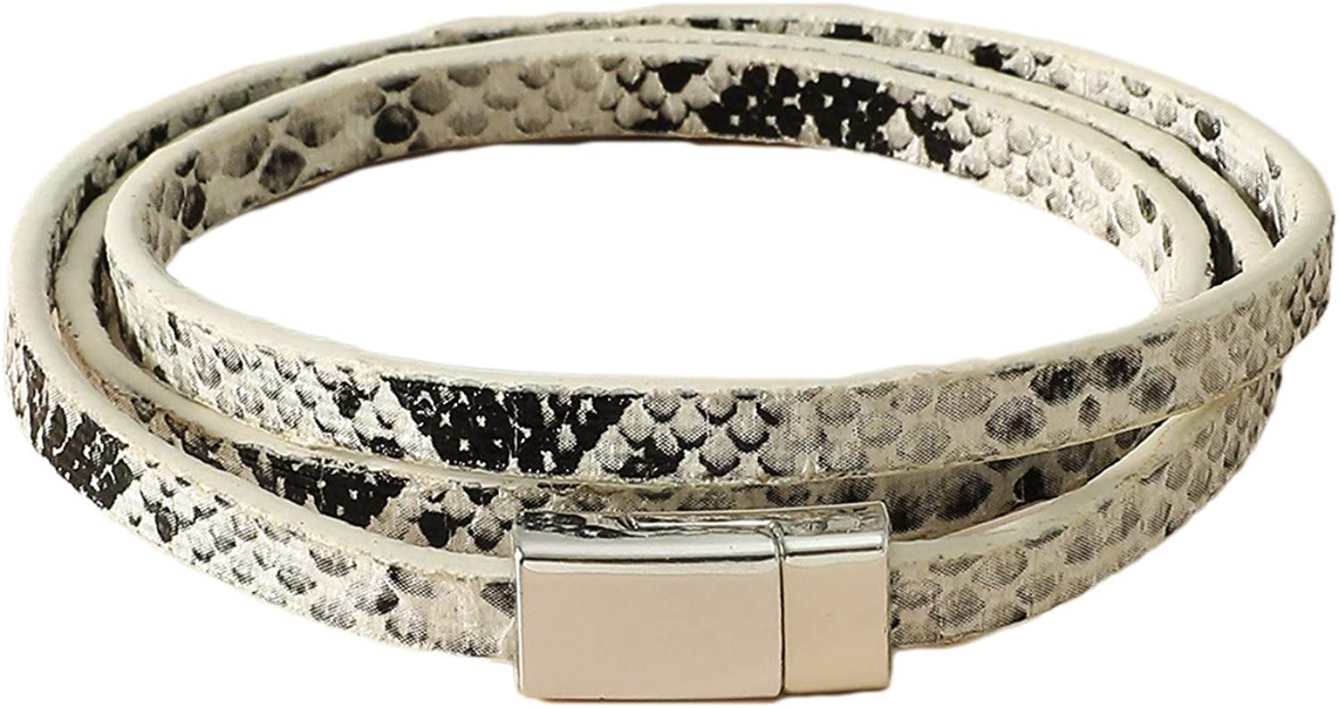 Multilayer Snakeskin Faux Leather Band Cuff Bangle Bracelet Jewelry Gift for Women Men