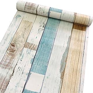 Decorativo Panel de madera patrón Contacto Papel autoadhesivo papel pintado Estante Liner Peel and Stick para cubrir armar...