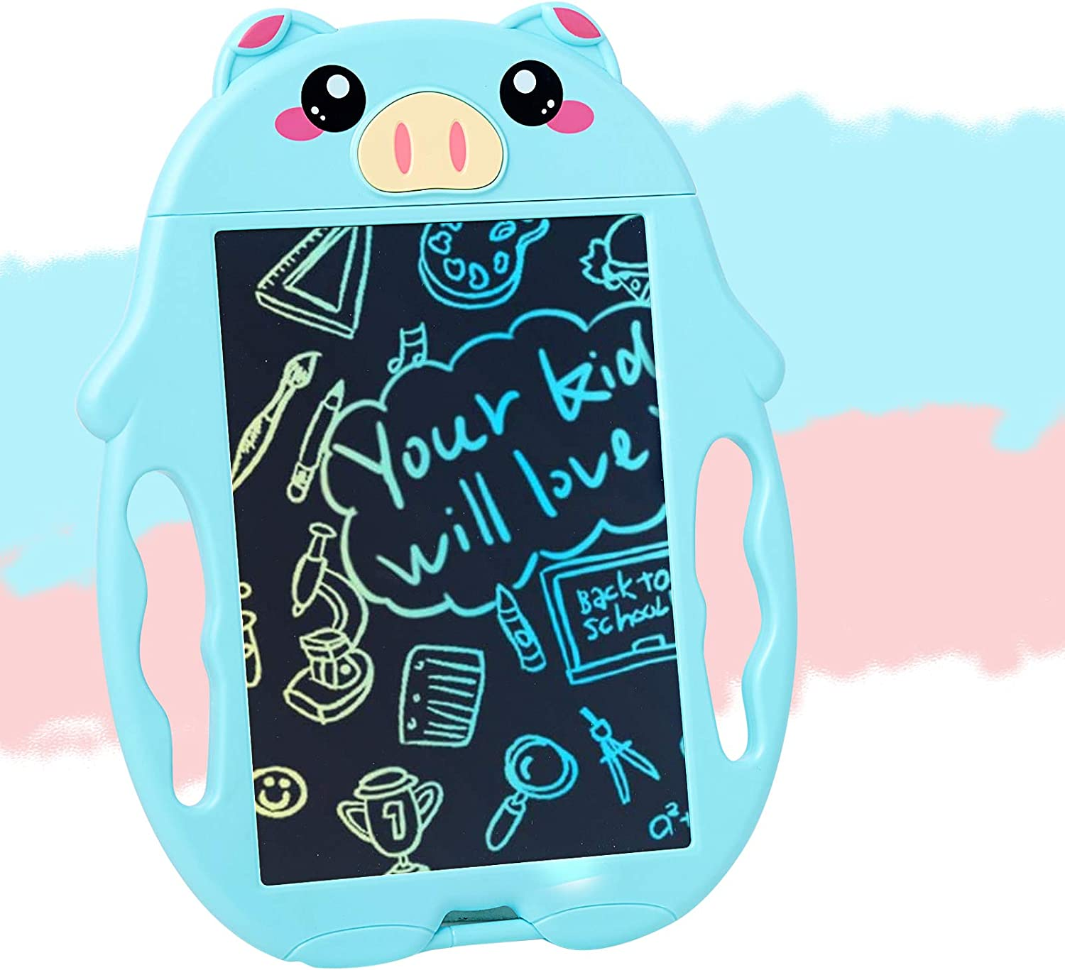 Blue Colorful LCD Writing Tablet for 3-6 Years Old Girls Boys 8,5 Inch Piglet Shape LCD Writing Tablet for Kids,Toddler Doodle Board Kids Drawing Board Educational and Learning Toy for Boys Girls