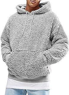 Hombres Invierno Cálido Fleece Coat Sudadera Cárdigan con Capucha Casual Fluffy Sudadera con Capucha Chaquetas Ropa de Abrigo