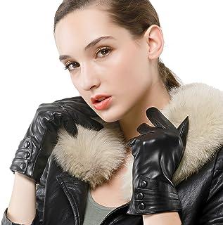 Nappaglo donne guanti in pelle nappa puro cashmere guida inverno caldo guanti (touchscreen o non touchscreen)