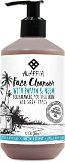 Alaffia - Purely Coconut Face Cleanser, For All Skin Types, Cleansing Support to Remove Makeup Leaving Skin Fresh, and Hydrated with Neem, Lavender Oil, Fair Trade, Papaya and Neem, 12 Ounces
