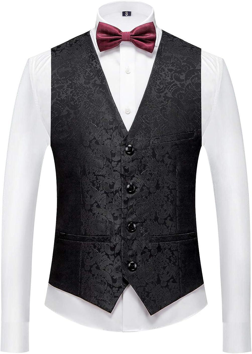 MOGU Mens Tuxedo Suit Vest Slim Fit Wedding Party Waistcoat