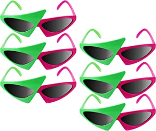 6 Pieces Asymmetric Sunglasses 80's Hip Hop Dance Glasses Green Pink Triangle Glasses for Teenagers, Adults