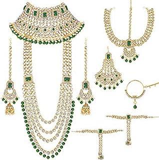 I Jewels Traditional Ethnic Indian Kundan Dulhan Bridal Jewellery Set for Women (BLP020G)