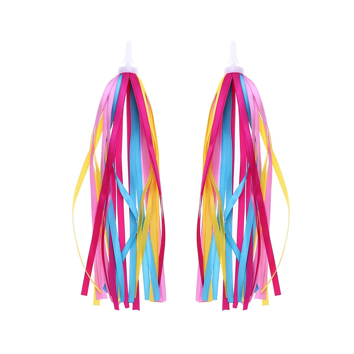 VORCOOL 1Pair Bike Handlebar Streamers Bicycle Grips Colorful Polyester Streamers Tassel Ribbons Children Baby Carrier Accessories