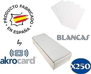 Pack 250 - Tarjeta pvc BLANCA - tarjeta de pvc neutra tiene el formato estándar ISO CR80 (86x54mm), de 0,76mm de grosor, para imprimir mediante impresora tarjetas pvc