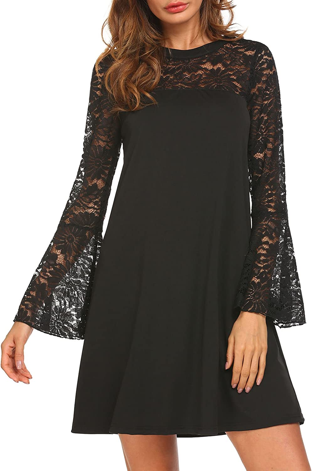 Pasttry Women's Lace Patchwork Tunic Dress Long Sleeve Cocktail Party A Line Dress