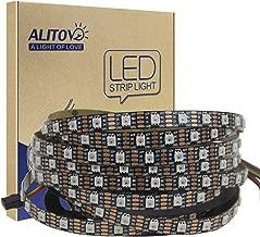 ALITOVE 12V WS2812B RGB Addressable LED Strip Light WS2813 12V LED Pixel Tape Light WS2815 Programmable LED Flexible Strip 16.4ft/5m 300 LEDs Not Waterproof Black PCB for Arduino Raspberry Pi Project