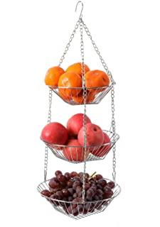 Sponsored Ad - YCOCO 3 Tier Wire Fruit Hanging Basket,Fruits Vegetable Kitchen Household Metal Chain Basket Organizer with...