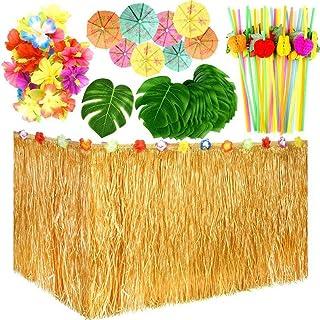 Falda de Mesa Hawaiana decoraci/ón de Mesa de Fiesta de Flores Hawaianas Selva Tropical Hojas de Palmera 149 Piezas 9 pies sombrillas RecoverLOVE Juego de decoraci/ón de Fiesta Tropical