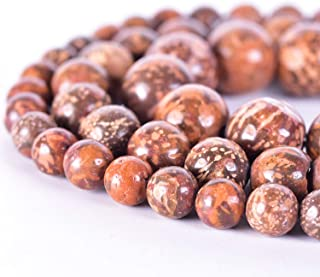 Yuncai 8mm 48PCS Firework Stone Natural Jasper Gemstone Round Loose Gems Energy Healing Power Stone Beads for Jewelry Brac...