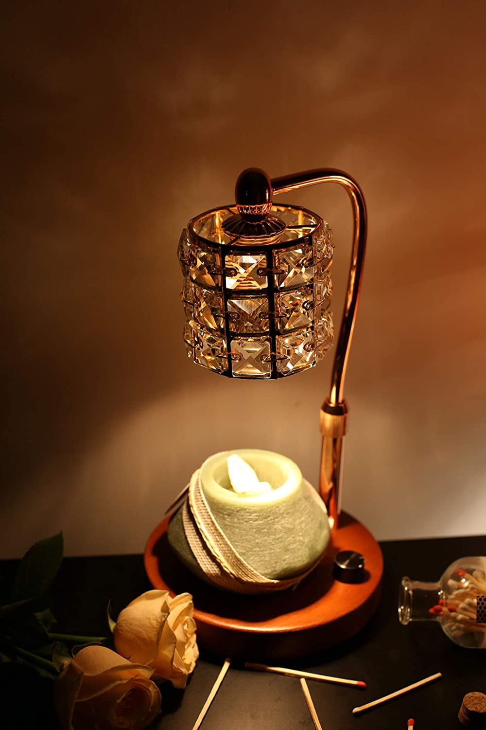 Candle Wax Lamp Creative Exquisite Simple Europe Thermal Melting Wax Warmer Lamp with Adjustable Temperature and Fragrance for Bedroom Living Room Study White