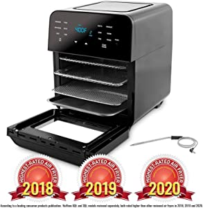 NUWAVE BRIO 14-Quart Large Capacity Air Fryer Oven with Digital Touch Screen Controls and Integrated Digital Temperature Probe; 3 Heavy-Duty NEVER-RUST Stainless Steel Mesh Racks (Renewed)