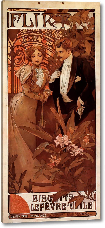Flirt Calendar By Alphonse Maria Mucha 11 X 24 Gallery Wrap Canvas Art Print Ready To Hang Posters Prints
