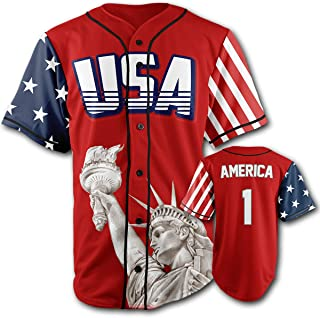 Custom Baseball Jersey Button Down USA Red America #1 (Small-4XL)