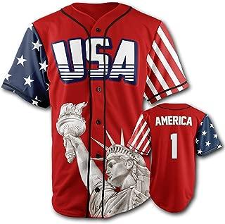 Greater Half Custom Baseball Jersey Button Down USA Red America #1 (Small-4XL)