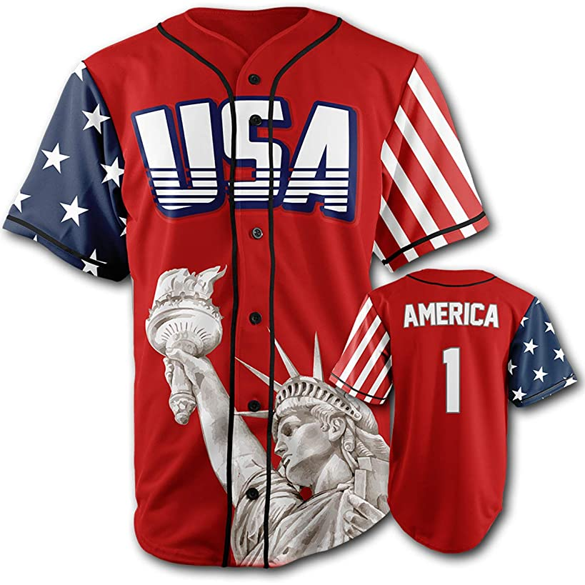 Greater Half Custom Baseball Jersey Button Down USA Red America #1 (Small-4XL)