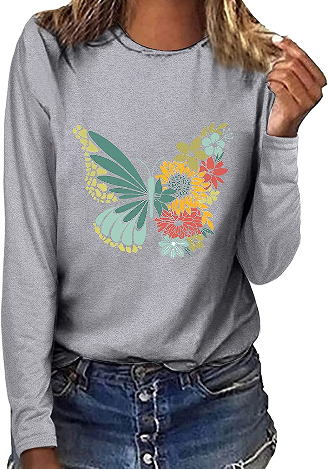 Women's Fall Long Sleeve Sweatshirt Casual Crewneck Trendy Print Tops Loose Fit T-Shirt Workout Pullover Graphic Tees
