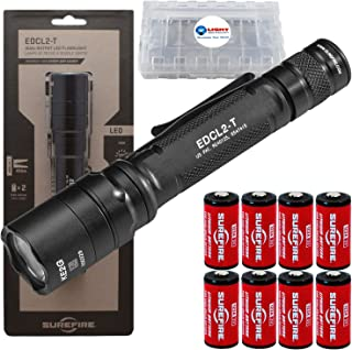 SureFire EDCL2-T 1200 Lumen Tactical EDC Flashlight Bundle with 6 Extra Surefire CR123 Batteries and 2 Lightjunction Battery Cases