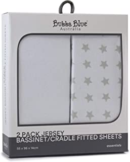 Bubba Blue Everyday Essentials Jersey Bassinet and Cradle Fitted Sheet 2 Piece Set, White/Grey, 2 piece