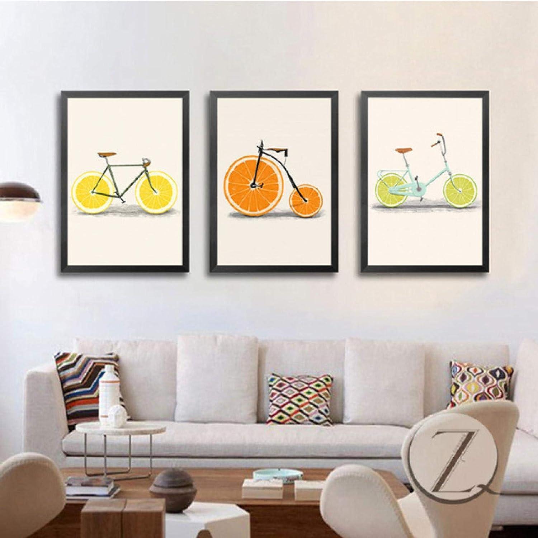 dsajgker Fantastic Abstrat Fruit favorite Lemon Print Poster Orange Max 84% OFF Bike