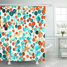 TOMPOP Shower Curtain Watercolor Confetti Hand Charming Circles Deep Orange Scattered Dots Waterproof Polyester Fabric 60 x 72 Inches Set with Hooks