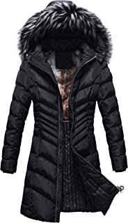Winter Slimming Coat for Women Long Warm Parka Jacket Removable Faux Fur Hoodie