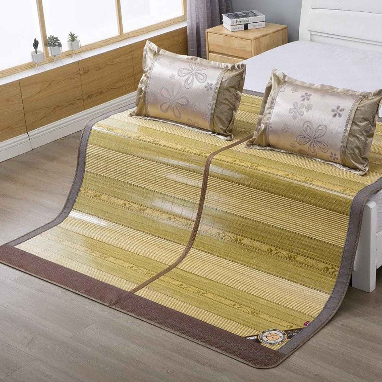 Bamboo Mat 1.8 M Summer Folding 1.5 M Summer Mat Rattan Mat Grass Mat Air Conditioning Mat (Without Pillowcase) 1.8  2m (6 Feet) Bed (color   Green, Size   150  195cm)