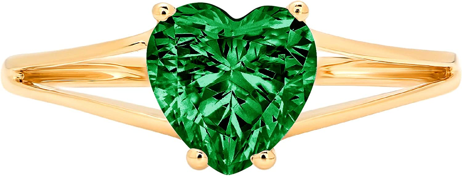 1.4ct Heart Cut Solitaire split shank Flawless Simulated Cubic Zirconia Green Emerald Ideal VVS1 4-Prong Engagement Wedding Bridal Promise Anniversary Designer Ring Solid 14k Yellow Gold for Women