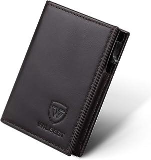 Portafoglio Uomo Vera Pelle Porta carte di credito minimalista con protezione RFID, Slim Automatico Pop-up per carte di cr...