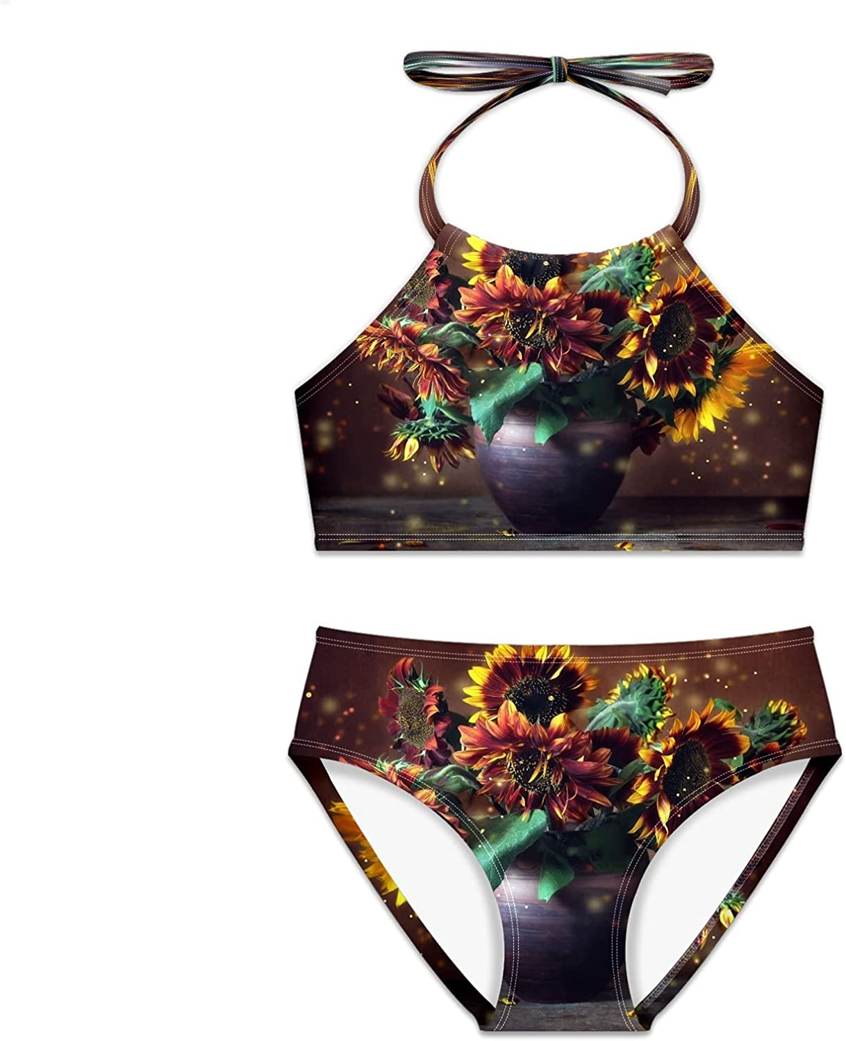 Mealove Complete Gifts Free Shipping Girls Swimsuit Sunflowers Vase Bikini Two Pieces Set