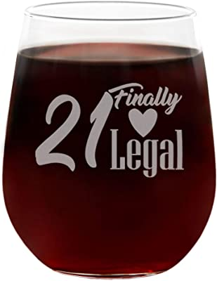 21 Finally Legal Funny Cute 21st Birthday Wine Glass, Engraved Stemless 21oz, Gift Box, Happy 21st Birthday Gifts for Women, Unique 21st Birthday Gifts for Her, Mom, Wife, Girlfriend, Sister, Friend