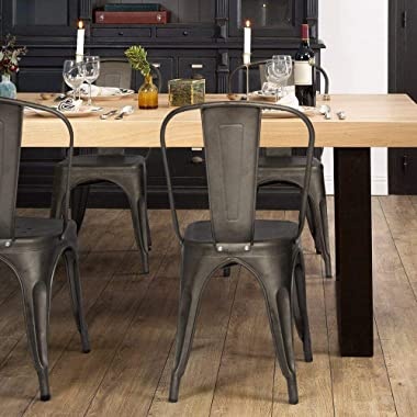 Furmax Metal Dining Chairs Set of 4 Indoor Outdoor Patio Chicken 18 Inch Seat Height Trattoria Chic Bistro Cafe Side Stackabl