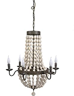 Creative Co-op Metal Chandelier with Wood Beads & 6 Ceiling Lights, 30