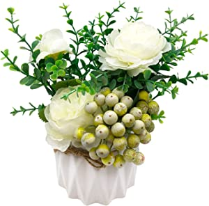 GSD Artificial Flowers in Vase Flower Arrangements with Ceramics Vase Silk Rose Bouquet Faux Flowers Table Centerpieces for Dining Room Kitchen Decoration, Pack of one, (White)