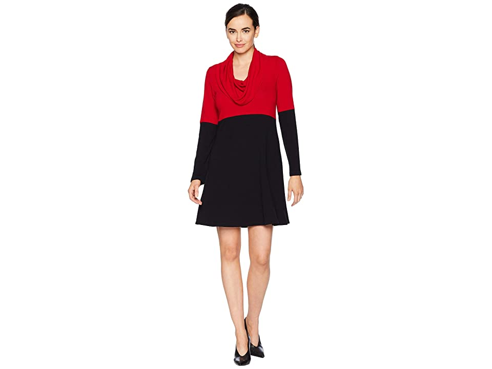 Karen Kane Cowl Neck Color Block Dress (Black) Women