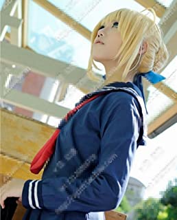 Mzcurse Style Short Fate Zero Saber Blonde Party Costume Cosplay Hair Wig with Bun