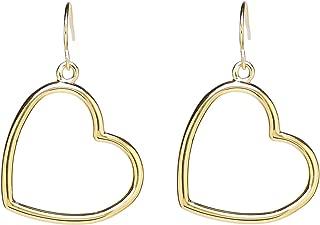 Erica Aneberg 22K Gold Open Heart Earrings for Women - Heart Shaped Earrings - Heart Hoop Earrings