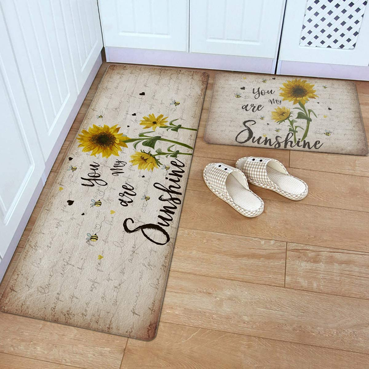 2 Piece Leather Kitchen Rug- You Are Charlotte Mall Sunshine My Max 50% OFF Sunflowe Rustic