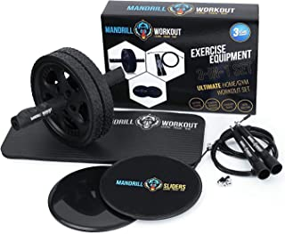 3-in-1 AB Wheel Roller Kit + Knee Pad + Jump Rope (Extra Cable & Accesories) + Gliding Discs - AB Workout Equipment - Exercise Equipment for Abs, Core, Legs, Arms + 3 Years Warranty-Workout Equipment