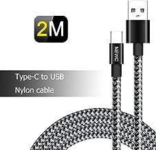Câble USB Type C Tressé Noir en Nylon à US, Câble USB C pour Samsung Galaxy S8/S8 Plus,S9/S9 Plus, Huawei, Xiaomi, Honor, ...