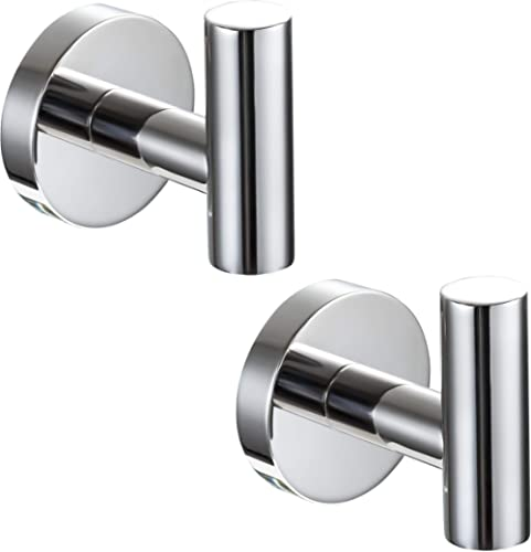 YGIVO 2 Pack Towel Hooks, Chrome Polished Finish SUS304 Stainless Steel Coat Robe Clothes Hook Modern Wall Hook Holde...