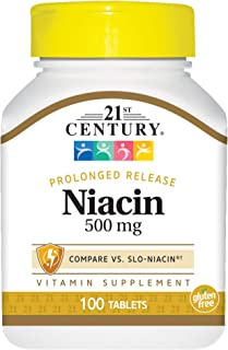 21st Century Niacin 500 mg Prolonged Release Tablets, 100 Count