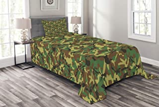 Ambesonne Camo Bedspread, Woodland Camouflage Pattern Abstract Concealment Hiding in Jungle, Decorative Quilted 2 Piece Coverlet Set with Pillow Sham, Twin Size, Green Brown