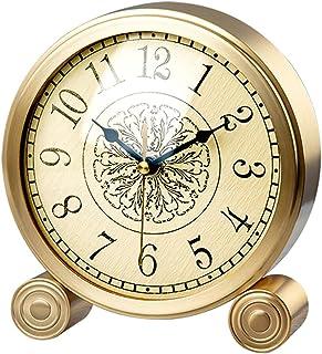 Alarm Clock ضوء الفاخرة أحادية الوجهين على مدار الساعة الطاولة النحاس الجدول الديكور العربية الأرقام منضدية على مدار الساع...
